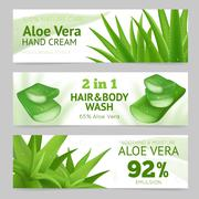 Horizontal Aloe Vera Banners - stock illustration