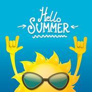 hello summer rock n roll poster. summer party - stock illustration