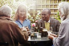 Senior friends drinking and playing cards in garden - stock photo