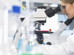 Medical scientist viewing sample slide under a microscope in a laboratory - stock photo