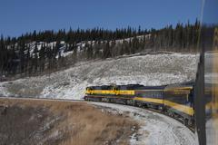 View from train, Fairbanks, Alaska - stock photo