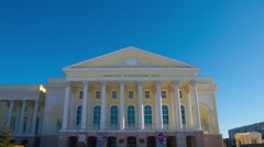 Hyperlapse video of a russian drama Theatre in Tyumen Stock Footage