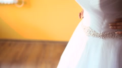 Dressing the bride Stock Footage