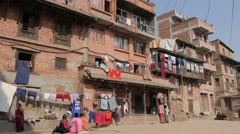 Living quarter,Bhaktapur,Nepal Stock Footage