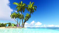 Beach and palms blue sky clouds 3D rendering Stock Illustration