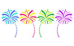 Colorful vector firework design elements - stock illustration