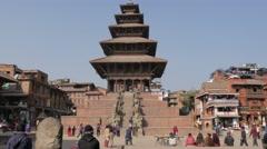People sitting on Taumadhi Tole square,Bhaktapur,Nepal Stock Footage