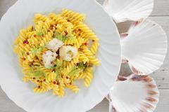 Creamy Scallop Fusilli Pasta - stock photo