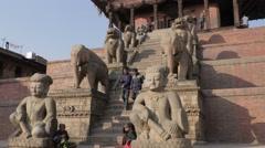 People climbing Nyatapola Pagoda,Bhaktapur,Nepal Stock Footage