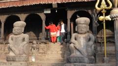 People leaving Dattatreya temple,Bhaktapur,Nepal Stock Footage