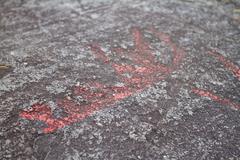 Petroglyph ship details Stock Photos