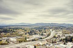 Distant view of Tiger mountain from Lincoln Square, Seattle, Washington State, Stock Photos