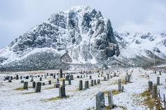 Cemetery in snow, Reine, Lofoten, Norway Stock Photos