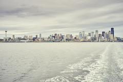 View of distant skyline over Puget Sound, Seattle, Washington State, USA Stock Photos