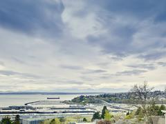 View of distant Bainbridge Island from Kerry Park, Seattle, Washington State, - stock photo