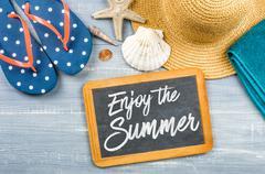 Message on a chalkboard - Enjoy the Summer Stock Photos