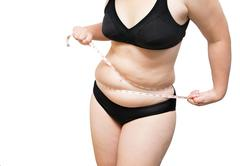 fat woman squeeze tighten body fat by measure tape on white isolated - stock photo