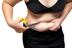 Fat Woman Cut obesity belly cellulite weight loss plastic surgery concept - stock photo