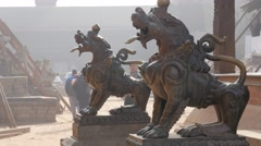 Lion statues on Durbar square,Bhaktapur,Nepal Stock Footage