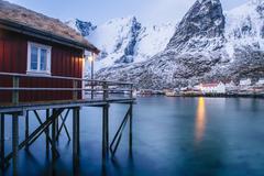 Traditional fishing hut on stilts, Reine, Lofoten, Norway Stock Photos