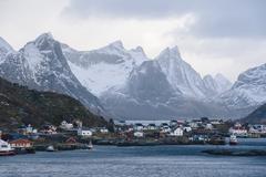 The fishing village of Reine, Lofoten, Norway Stock Photos