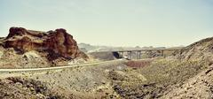Panoramic view of highway and flyover,  Hoover Dam, Nevada, USA Stock Photos