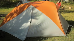 Man touch smart phone in the tent. First, open the tent, touch screen and close Stock Footage