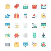 Shopping, Ecommerce, Retail and Shipping Vector Icons - stock illustration