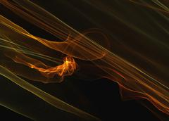 abstract yellow orange smoke flame elegant wave over black backg - stock illustration