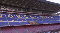 Aerial Camp Nou grandstands 6 Stock Footage