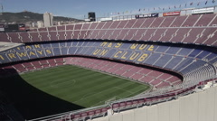 Aerial Camp Nou grandstands 2 Stock Footage