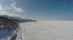 Aerial shoot of Shiretoko floating ice Stock Footage