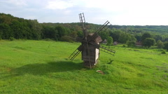 Wooden Windmill. Open-Air Museum Pirogovo - stock footage