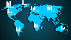 Worldwide global population infographics visual aid Stock Footage