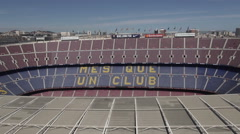 Aerial Camp Nou grandstands 1 Stock Footage