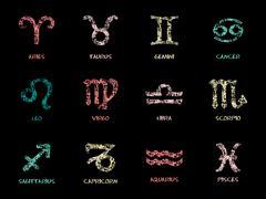 Chalk pastel Zodiac Symbol icons - stock illustration