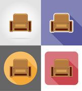 armchair furniture set flat icons vector illustration - stock illustration