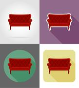 Sofa furniture set flat icons vector illustration Stock Illustration