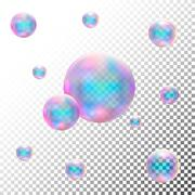 Transparent realistic soap bubbles. Isolated vector Stock Illustration