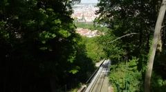 Historical funicular to Petrin Hill established 1891. Stock Footage