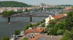 View of the railway bridge and Palacky Bridge on the River Vltava. Stock Footage