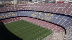 Aerial Camp Nou grandstands 3 Stock Footage