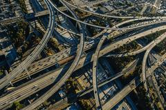 Aerial view of complex curved flyovers and highways, Los Angeles, California, - stock photo