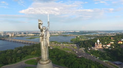 the Camera Flies Around the Monument of World War ii - stock footage