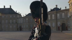 Royal guard in front of the royal Danish residence Stock Footage