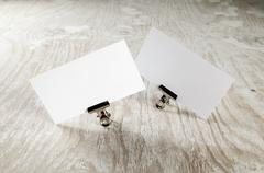 Two blank business cards Stock Photos