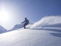 Skier at Combe de Gers, Flaine, France - stock photo
