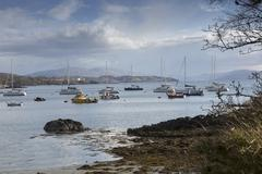 Boats in harbour, Armadale, Isle of Skye, Hebrides, Scotland - stock photo
