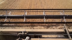 Combine harvester. Wheat harvest. View from the cabin Stock Footage