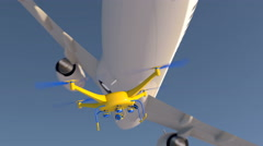UAV drone and airliner narrowly avoiding a mid-air collision - stock footage